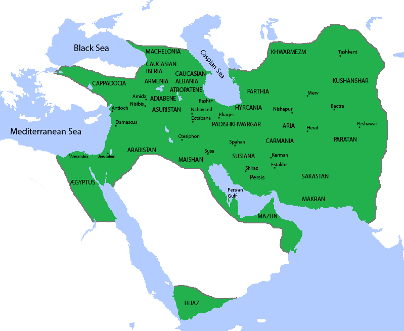 Map of the Sassanid empire, ca. 621 CE