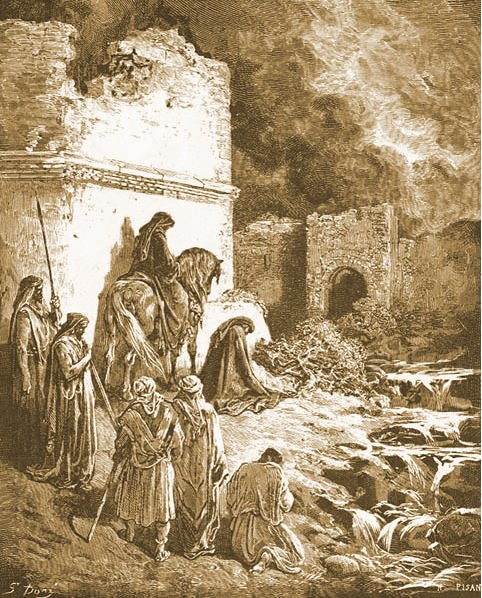 Nehemiah in the ruins of Jerusalem