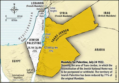 The creation of Transjordan in 1922